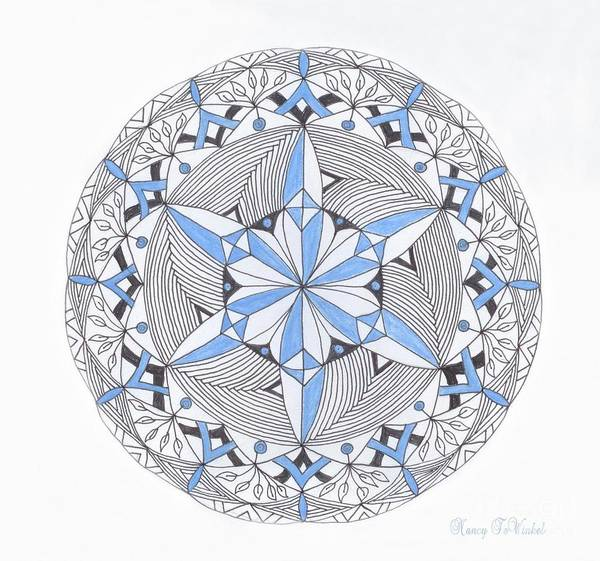 Wall Art - Drawing - Blue Snow Flake Mandala by Nancy TeWinkel Lauren
