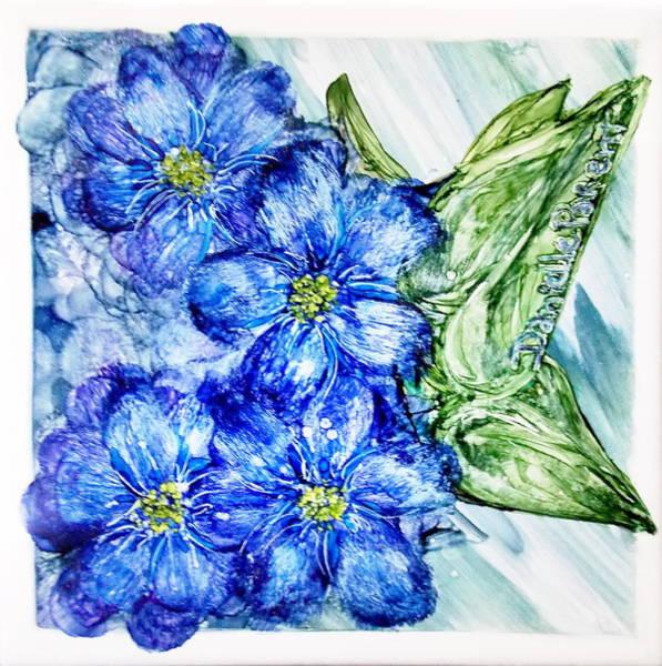 Photograph - Blue Springy Flowers Alcohol Inks by Danielle  Parent