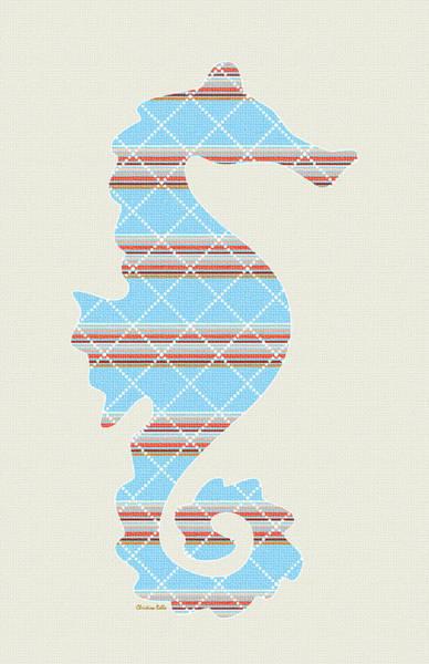 Aquatic Wall Art - Mixed Media - Blue Seahorse Art by Christina Rollo