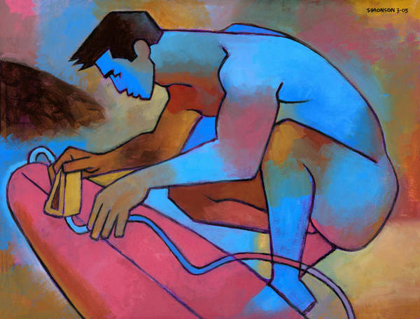 Masculine Painting - Blue Surfer 2 by Douglas Simonson