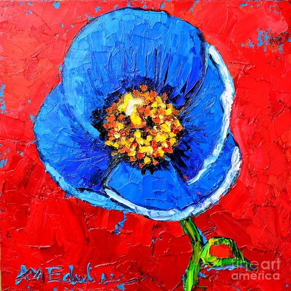 Pistil Painting - Blue Tibetan Poppy by Ana Maria Edulescu