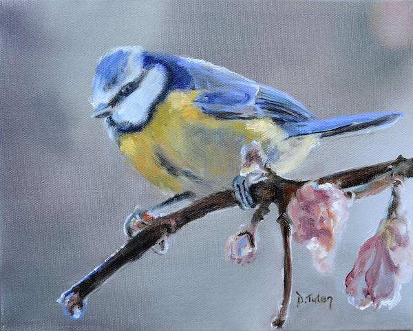 Painting - Blue Tit And Blossoms by Donna Tuten