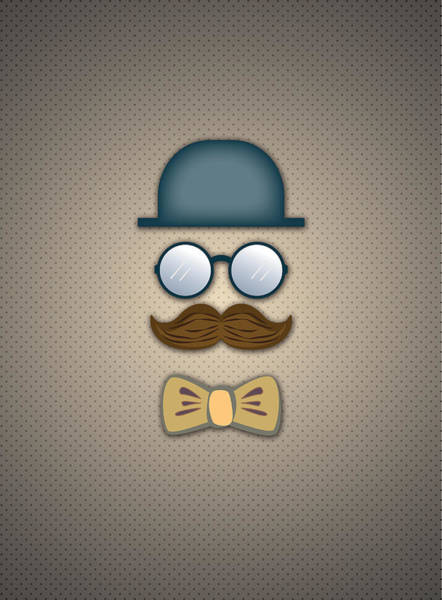 Blue Top Hat Moustache Glasses And Bow Tie Art Print