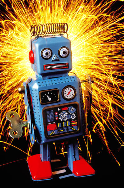Tin Toy Photograph - Blue Toy Robot by Garry Gay