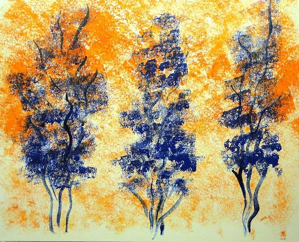 Wall Art - Painting - Blue Trees by Valerie Howell