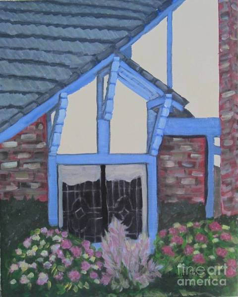 Half Timbered Painting - Blue Tudor Window by Laurie Morgan
