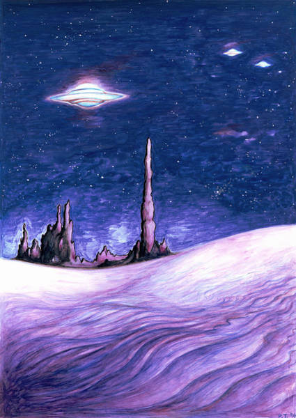 Painting - Blue Ufo Night - Space Art Painting by Peter Potter