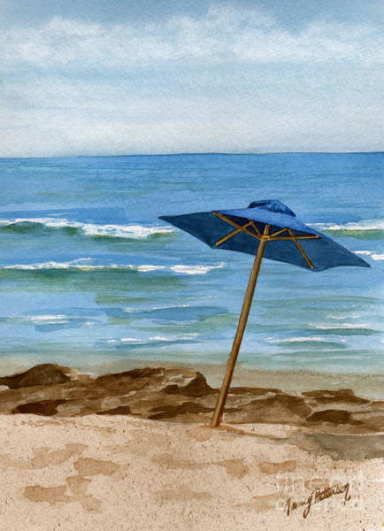 Cape May Painting - Blue Umbrella by Nancy Patterson