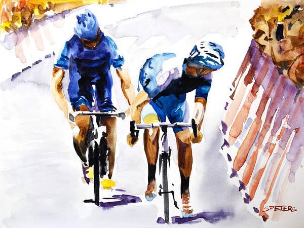 Le Tour De France Wall Art - Painting - Blue Versus Blue by Shirley  Peters