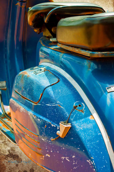 Photograph - Blue Vespa Fender by Paulette B Wright