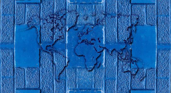 Hakon Photograph - Blue Wall World Map by Hakon Soreide