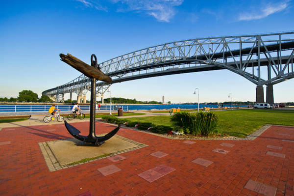 Anchor Photograph - Blue Water Bridge At Port Huron by Panoramic Images