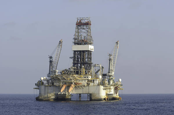 Photograph - Blue Water Oil Rig by Bradford Martin