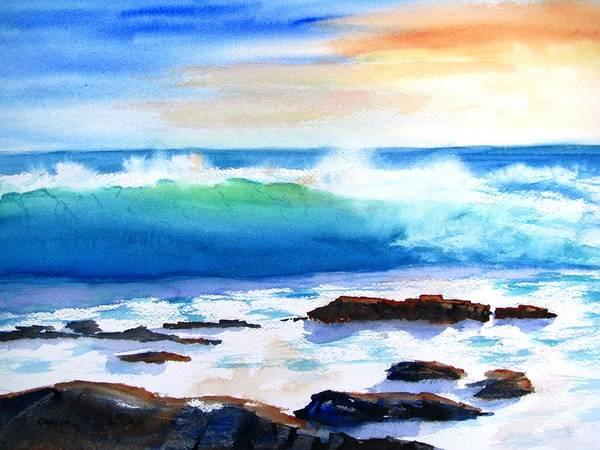 Wave Breaking Painting - Blue Water Wave Crashing On Rocks by Carlin Blahnik CarlinArtWatercolor