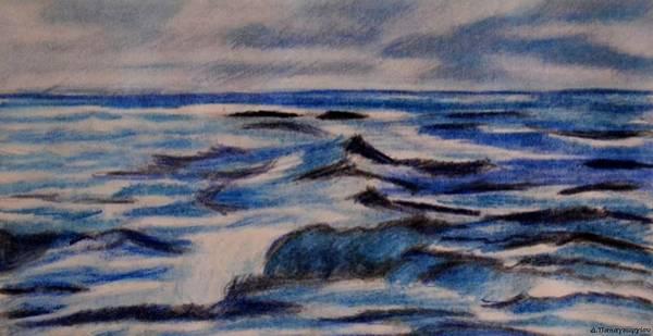Grey Skies Drawing - Blue Waves by Dimitra Papageorgiou