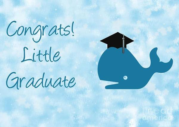 Graduation Digital Art - Blue Whale Grad by JH Designs