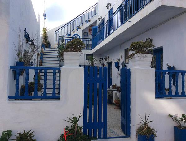 Photograph - Blue White Santorini Hotel Greece by Colette V Hera  Guggenheim