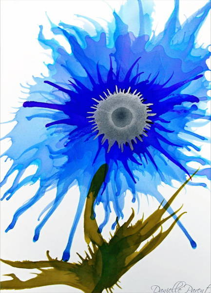 Painting - Blue Wild Flower Alcohol Inks  by Danielle  Parent