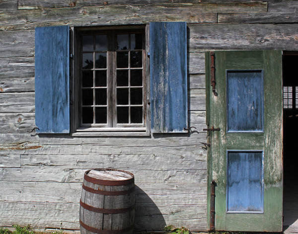 Michilimackinac Wall Art - Photograph - Blue Window Green Door Barrel by Mary Bedy