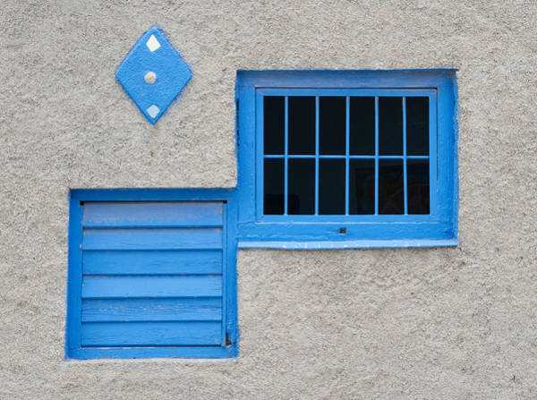 Photograph - Blue Window Grey Wall. by Rob Huntley
