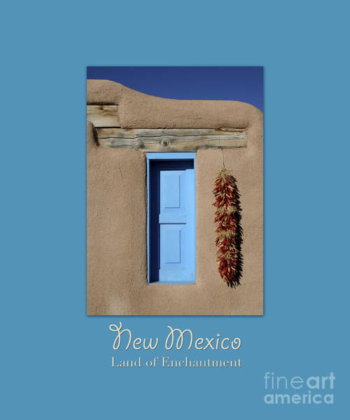 Wall Art - Photograph - Blue Window Of Taos With Text by Heidi Hermes