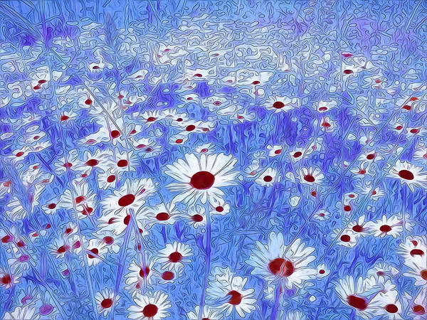 Mixed Media - Blue With White Daisies by Isabella Howard