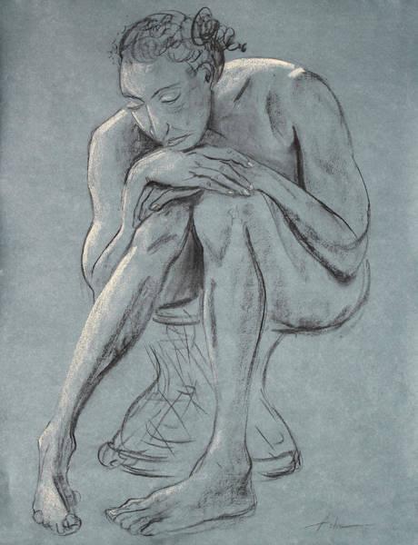 Wall Art - Drawing - Blue Woman Of Melancholy by Asha Carolyn Young