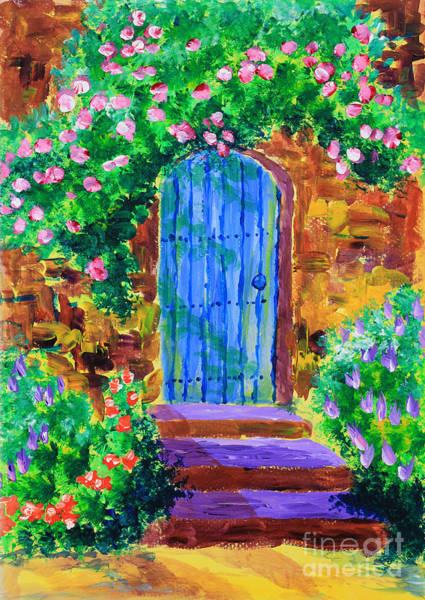 Blue Wooden Door To Secret Rose Garden Art Print