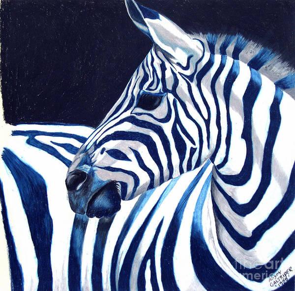 Zebra Painting - Blue Zebra by Alison Caltrider