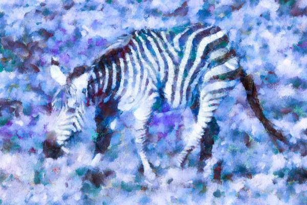 Digital Art - Blue Zebra by Priya Ghose