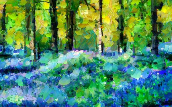 Mixed Media - Bluebells In The Forest - Abstract by Isabella Howard