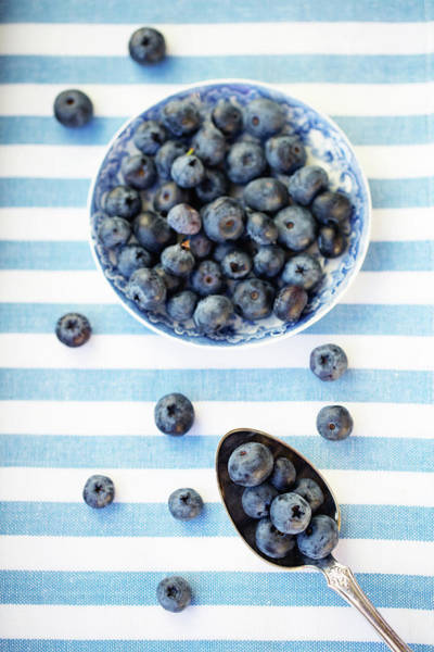Blue Spoon Photograph - Blueberries by Elin Enger