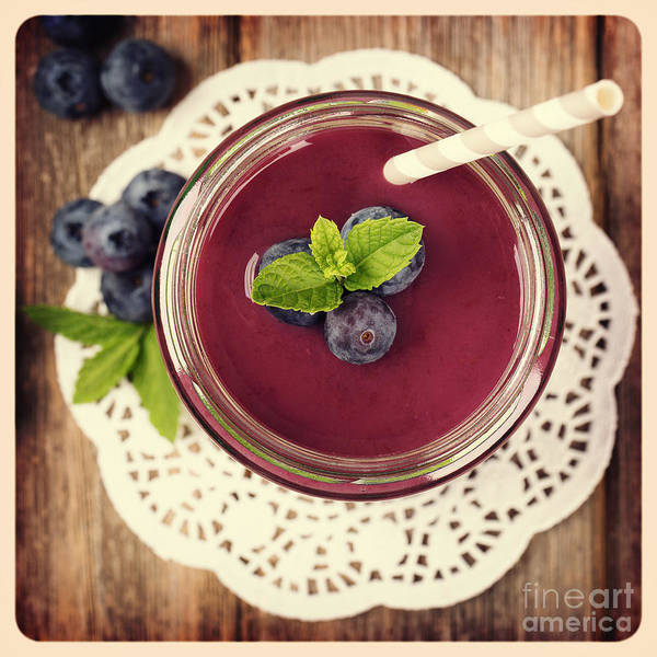 Wall Art - Photograph - Blueberry Smoothie Retro Style Photo.  by Jane Rix