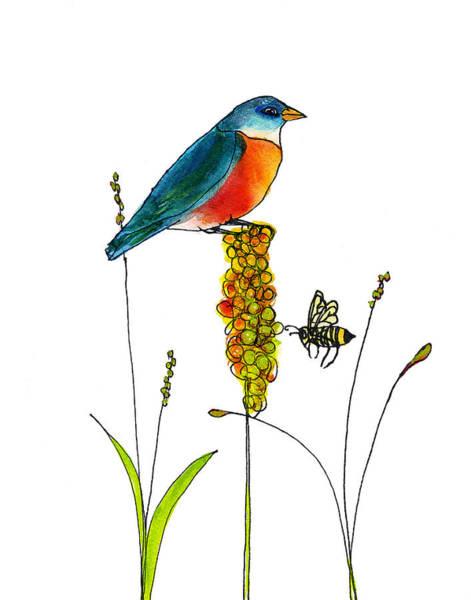 Wall Art - Painting - Bluebird And Bee by Blenda Studio