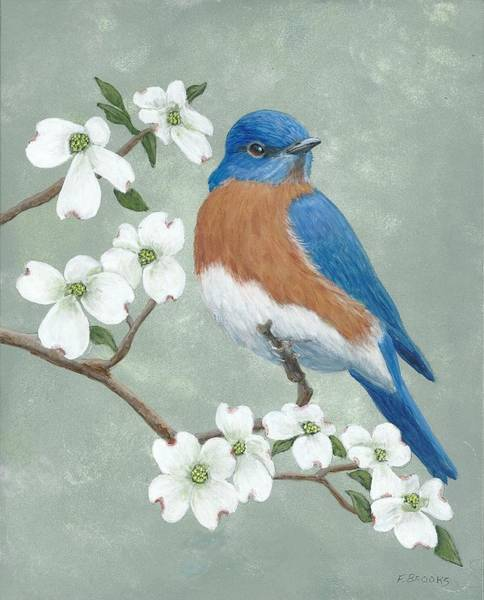 Painting - Bluebird And Dogwood by Fran Brooks