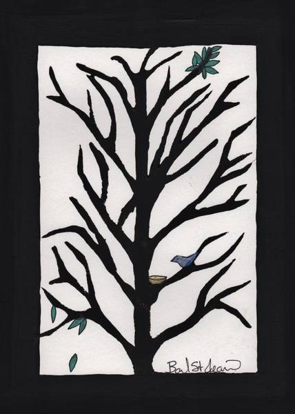 Painting - Bluebird In A Pear Tree by Barbara St Jean