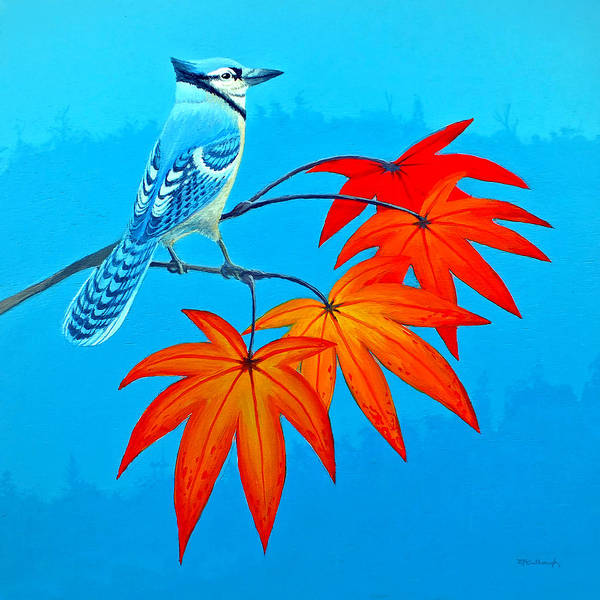 Painting - Bluejay In The Fall 2 by Duane McCullough