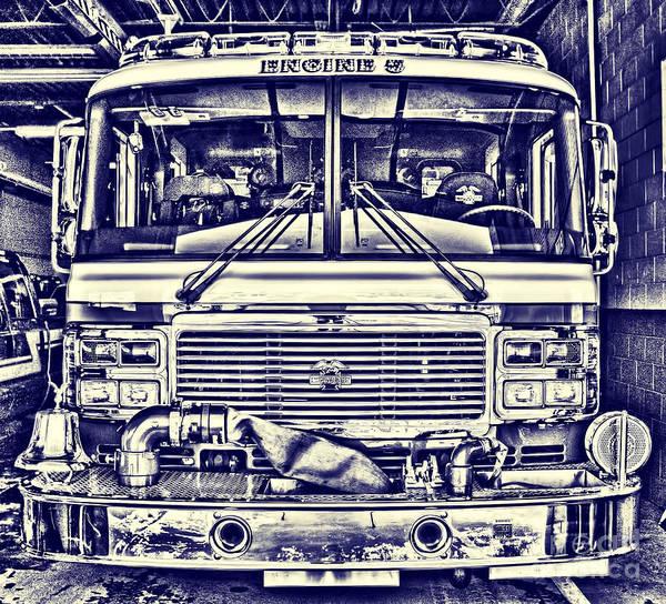 Photograph - Blueprint Fire Truck by Jim Lepard