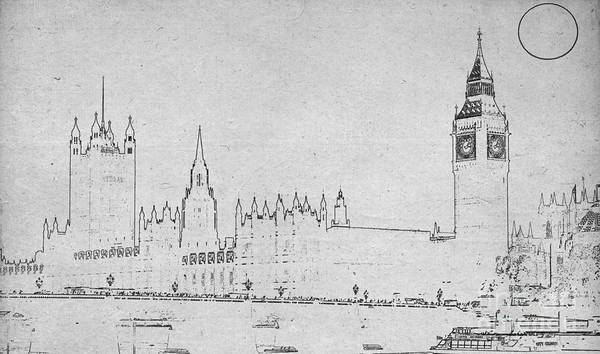 Painting - Blueprint Of London Bw by Celestial Images