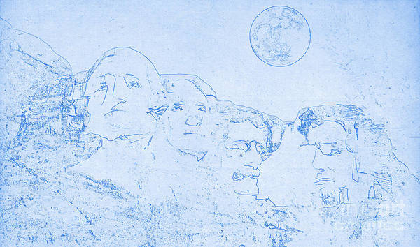 Mounted Digital Art - Blueprint Of Mount Rushmore In South Dakota by Celestial Images