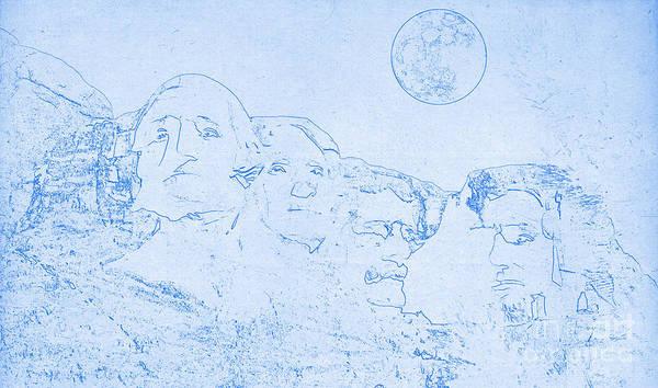 Digital Art - Blueprint Of Mount Rushmore In South Dakota by Celestial Images