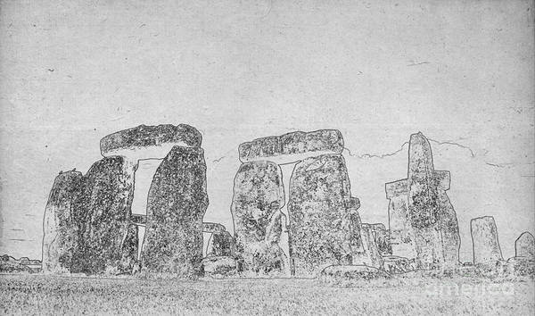 Digital Art - Blueprint Of Stonehenge In The English County Of Wiltshire Bw by Celestial Images