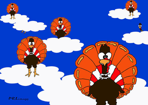 Drawing - Bluesky Turkeys by Rachel Lowry
