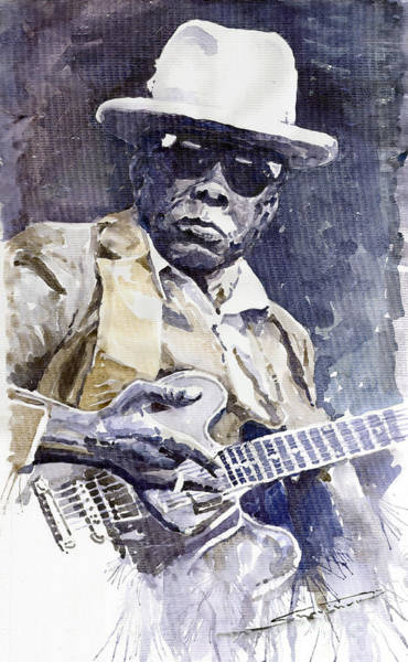 Wall Art - Painting - Bluesman John Lee Hooker 3 by Yuriy Shevchuk