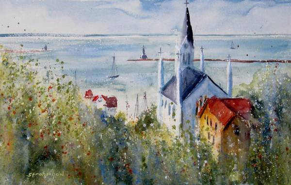 Cathedral Painting - Bluff View St. Annes Mackinac Island by Sandra Strohschein