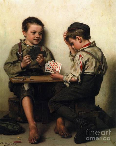 Playing Cards Wall Art - Painting - Bluffing by Pg Reproductions