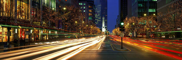Michigan Ave Photograph - Blurred Motion, Cars, Michigan Avenue by Panoramic Images