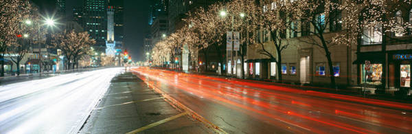 Michigan Ave Photograph - Blurred Motion Of Cars Along Michigan by Panoramic Images
