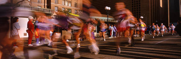 Street Racer Photograph - Blurred Motion Of Marathon Runners by Panoramic Images