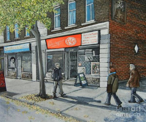 Montreal Street Scene Wall Art - Painting - Blvd Monk Ville Emard by Reb Frost